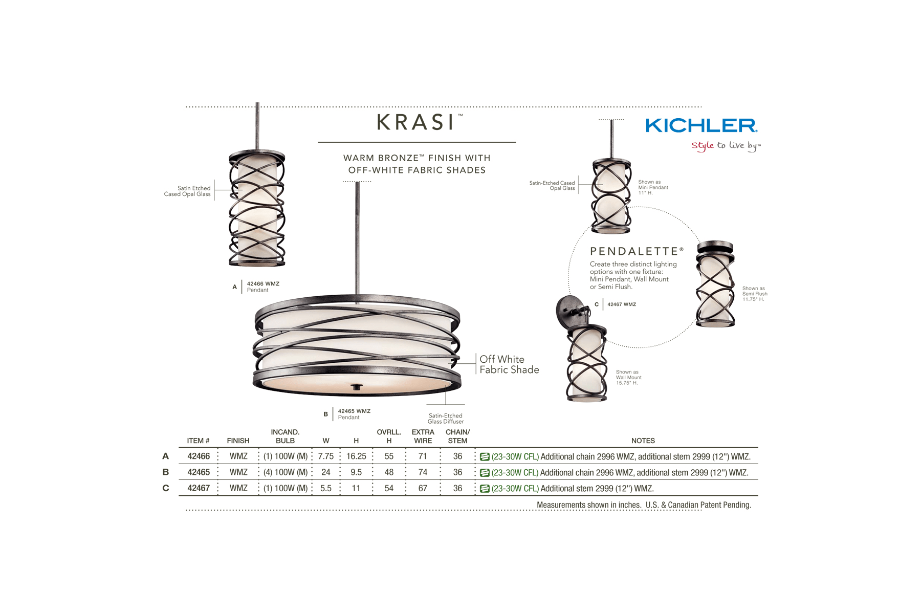 Kichler 42466wmz Krasi Single Bulb Indoor Pendant With Cylindrical Wiring Diagram Glass Shade Warm Bronze