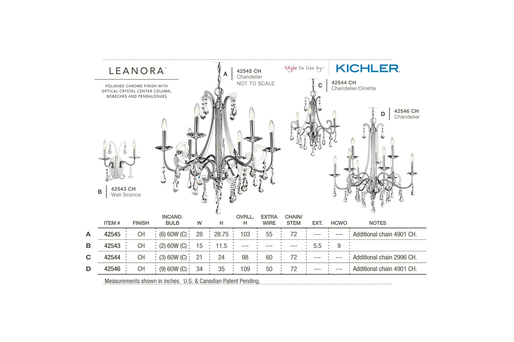 Kichler 42544ch Leanora Single Tier Chandelier With 3 Lights 72 Wiring Diagram Chain Included 21 Inches Wide Chrome