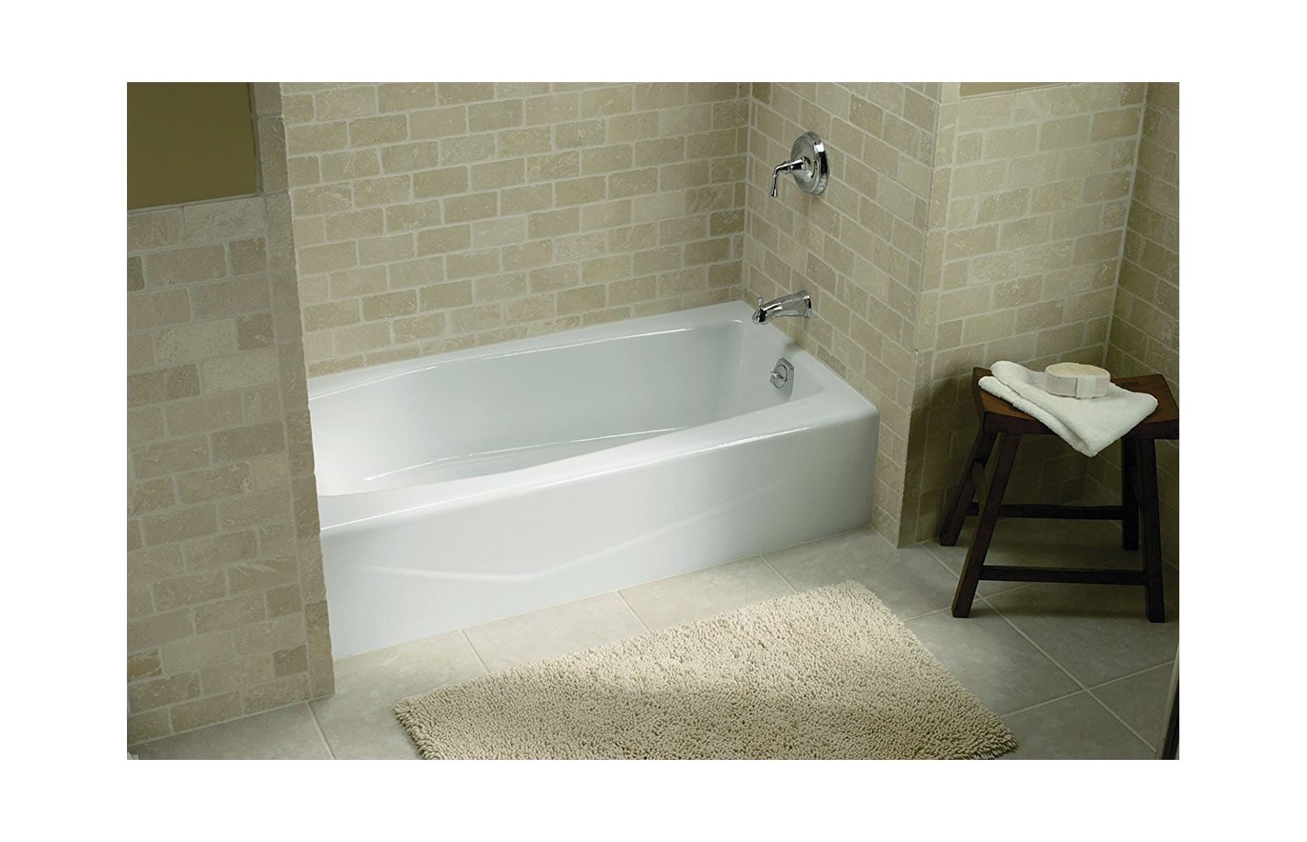 Kohler k 716 0 white villager collection 60 cast iron soaking bathtub for three wall alcove installations with right hand drain faucet com
