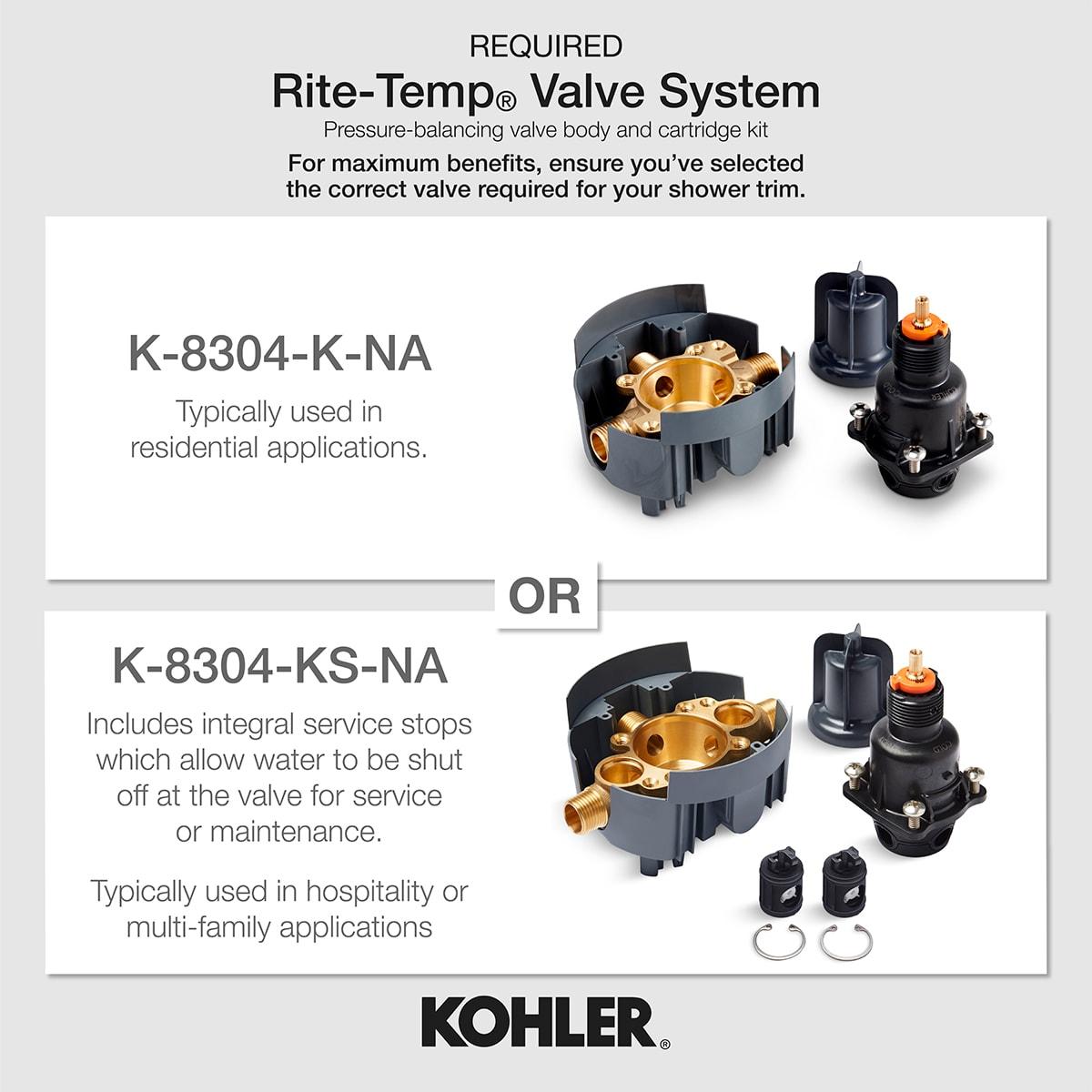 KOHLER TLS13134-4A-CP Pinstripe shower trim set Polished Chrome