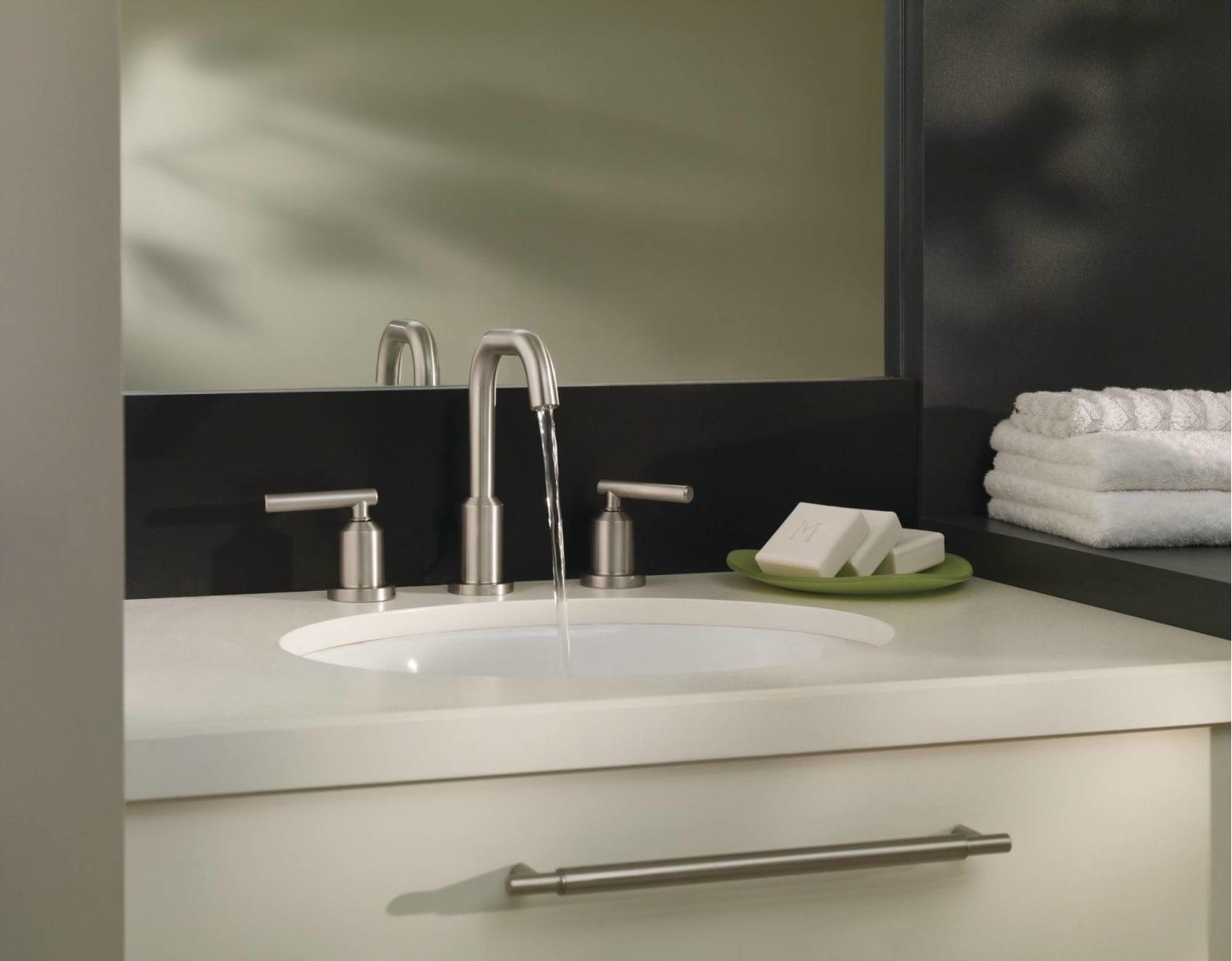 Moen 84229SRN Spot Resist Brushed Nickel Widespread Bathroom Faucet ...