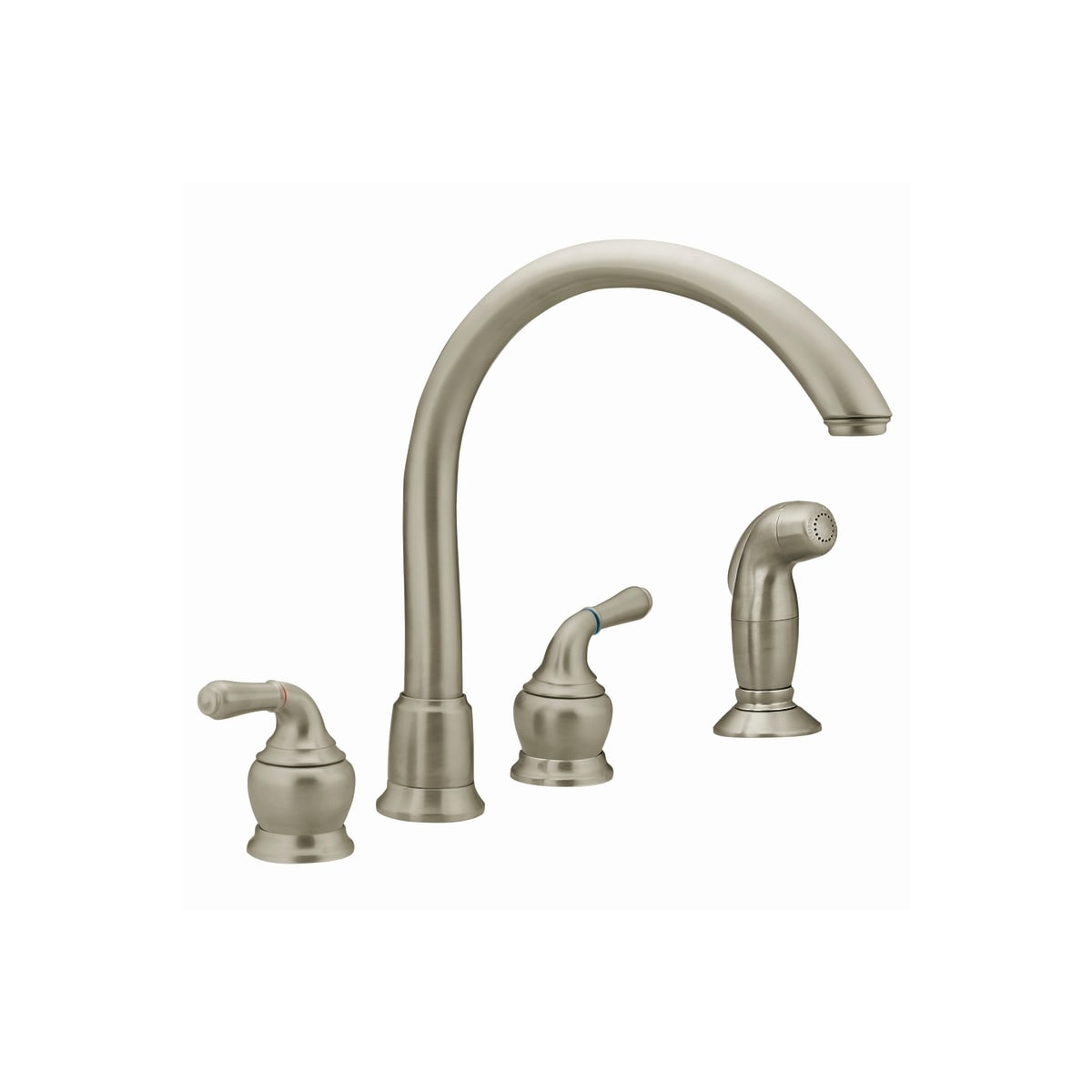 Moen 7786 Chrome Double Handle Kitchen Faucet With Gooseneck Spout And Sidespray From The Monticello Collection