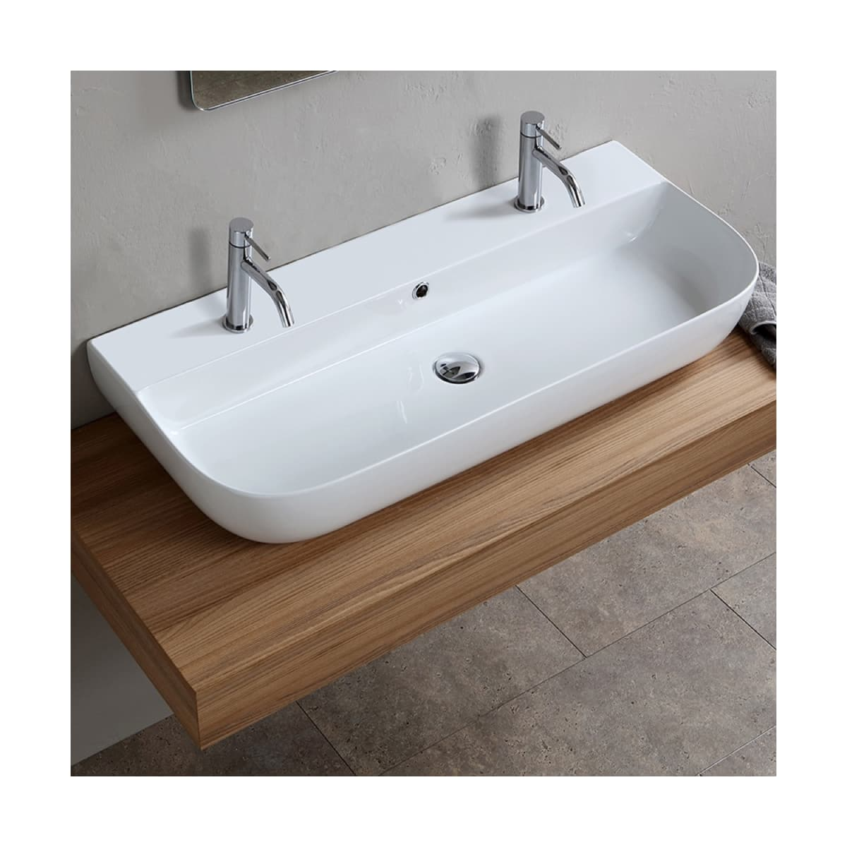 Nameeks Scarabeo 1813b Two Hole White Two Hole Scarabeo Glam 38 Rectangular Ceramic Vessel Or Wall Mounted Bathroom Sink With Overflow Faucetdirect Com