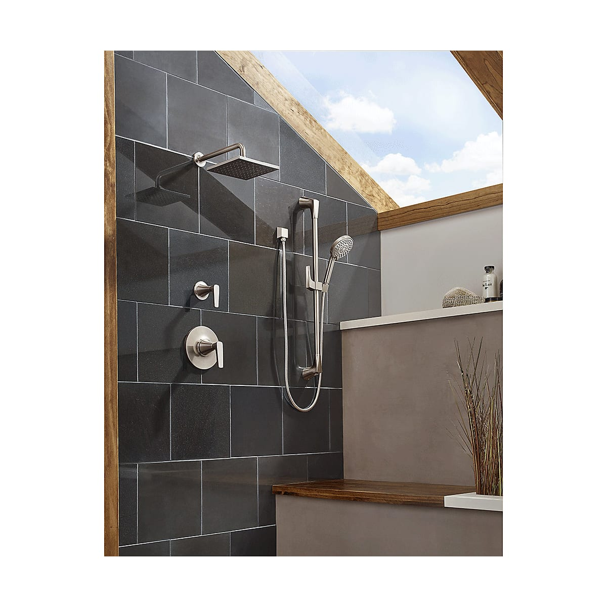 Pfister B89-7MFC Polished Chrome Kelen Shower System with Valve Trim ...