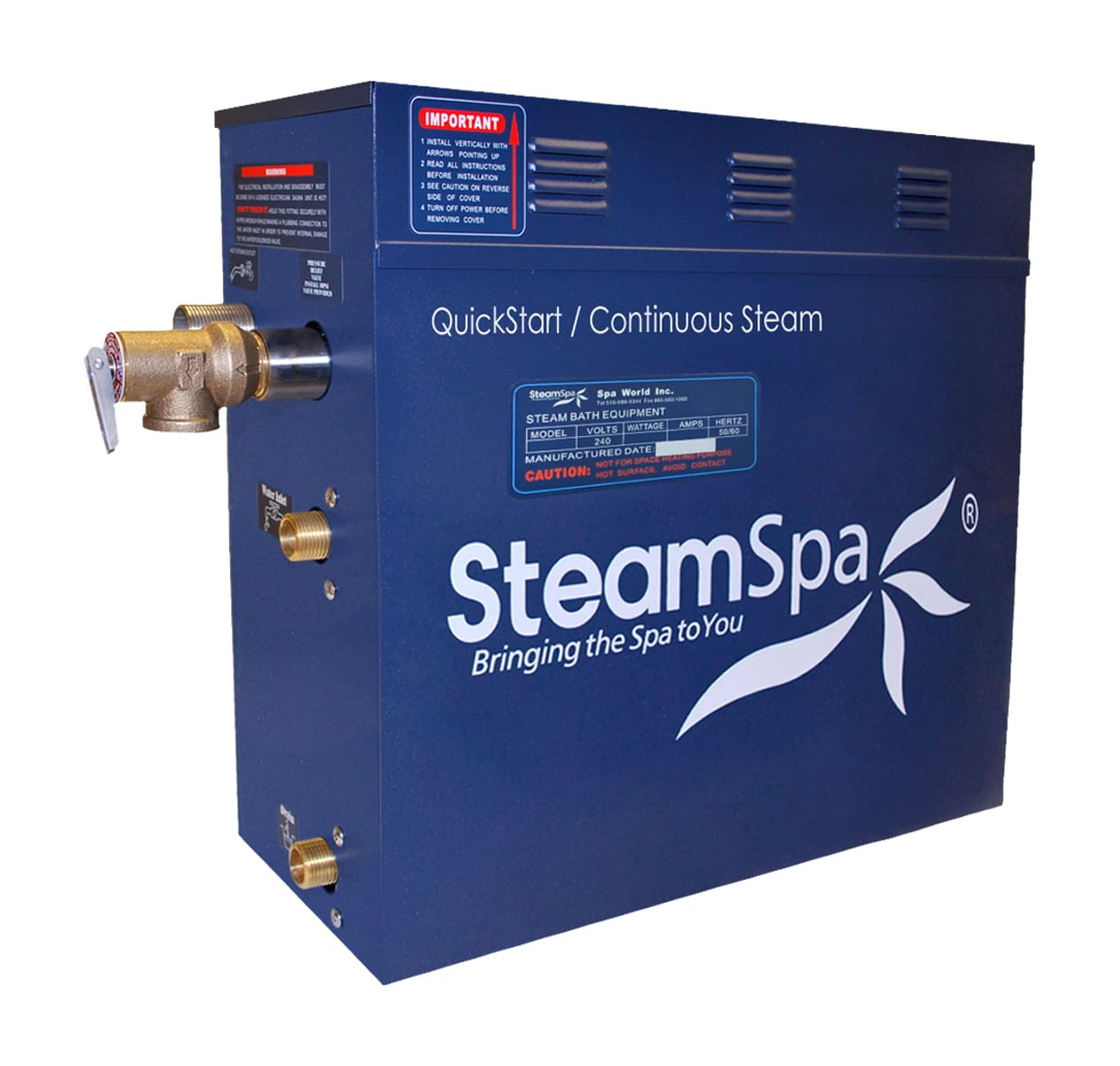 Oil Rubbed Bronze Steam Spa OAT1050OB-A Oasis 10.5 KW Quick Start Acu-Steam Bath Generator Package with Built-In Auto Drain