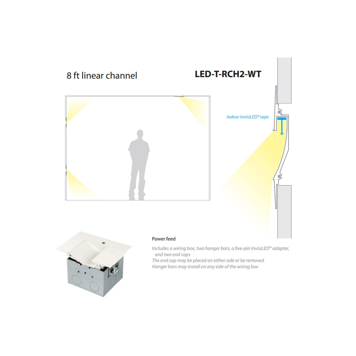 wac lighting led-t-rch2-wt white invisiled recessed channels 8 foot  asymmetrical linear channel for invisiled tape light - lightingshowplace com