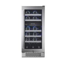 15 inch wide 23 bottle capacity dual zone wine cooler with left swing door