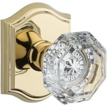 Crystal Privacy Door Knob Set with Traditional Arch Trim from the Reserve Collection