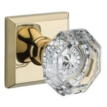 Crystal Privacy Door Knob Set with Traditional Square Trim from the Reserve Collection
