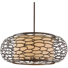 """Cesto 10 Light 44"""" Wide Drum Chandelier with Fabric Shade"""