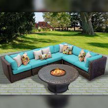 Venice Outdoor 7 Piece Conversation Set   Includes Fire Pit And Sofa