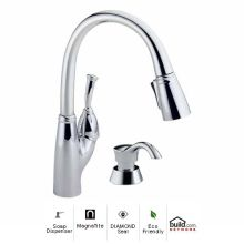 Allora Pull Down Kitchen Faucet With Magnetic Docking Spray Head And Soap Lotion Dispenser