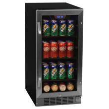15 Inch Wide 80 Can Built In Beverage Cooler With Blue LED Lighting