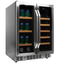 24 Inch Wide Wine And Beverage Cooler With French Doors