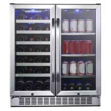 30 inch wide 28 bottle 86 can capacity dual zone wine cooler and beverage center