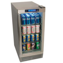 15 Inch Wide 84 Can Built In Outdoor Beverage Refrigerator With Triple Pane Gl