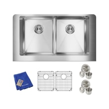 Crosstown Farmhouse Dual Basin Stainless Steel Kitchen Sink With Sound  Dampening
