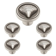 Cockleshell 1 1/8 Inch Diameter Mushroom Cabinet Knob   5 Pack