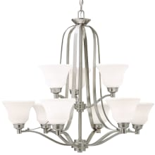"""Langford 9 Light 33"""" Wide 2 Tier LED Shaded Chandelier"""