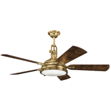 Nautical ceiling fans free shipping lightingdirect hatteras bay 56 5 blade ceiling fan with blades light and remote control aloadofball Images