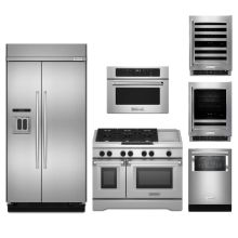 6 Piece Kitchen Package With 48u0027u0027 Built In Refrigerator, 48u0027
