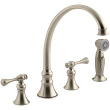 Double Handle Kitchen Faucet With Metal Traditional Lever Handles And  Sidespray From The Revival Series