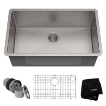 30 single basin 16 gauge stainless steel kitchen sink for undermount installations basin rack - Kitchen Sinks For Sale