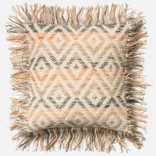 beige and orange pillow with wool and cotton cover and choice of down or polyester insert