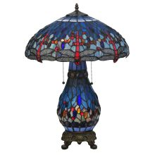 "25.5"" H Tiffany Hanginghead Dragonfly Lighted Base Table Lamp"