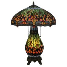 "25"" H Tiffany Hanginghead Dragonfly Lighted Base Table Lamp"