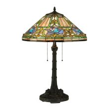 "Tiffany Floral 2 Light 26.5"" Tall Hand-Crafted Table Lamp with Stained Glass"
