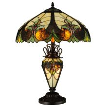"Sebastian 2 Light 24"" Tall Hand-Crafted Table Lamp with Stained Glass"
