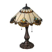 "Shell With Jewels 2 Light 21"" Tall Hand-Crafted Table Lamp with Stained Glass"