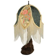"18.75"" H Fabric & Fringe Tulip Table Lamp"