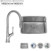 """23"""" Single-Bowl 16 Gauge Stainless Steel Kitchen Sink with Pullout Spray Faucet"""