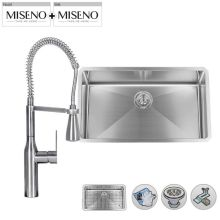 """30"""" Single-Bowl 16 Gauge Stainless Steel Kitchen Sink with Pre-Rinse Style Pull-Down Faucet"""
