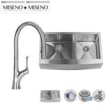 """33"""" Double-Bowl 16 Gauge Stainless Steel Kitchen Sink with Pullout Spray Faucet"""