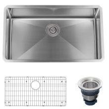 32 Undermount Single Basin Stainless Steel Kitchen Sink Drain Assembly And Fitted Basin Rack