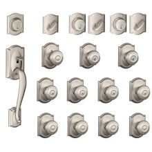 camelot complete house door hardware package with georgian interior knobs and single cylinder exterior front door schlage - Schlage Door Hardware