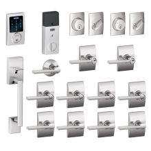 century complete house door hardware package with latitude interior levers and connect touchscreen keyless entry and - Schlage Door Hardware