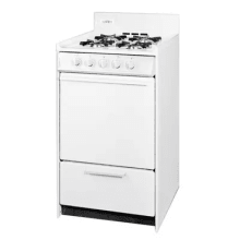 20 inch wide 246 cu ft free standing gas range with electric ignition