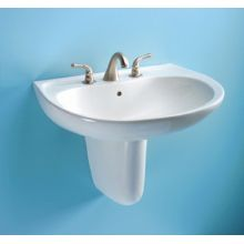 Prominence 26 Wall Mounted Bathroom Sink With 3 Faucet Holes Drilled And Overflow