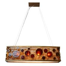 "Fascination 4 Light 36"" Wide Single Tier Linear Chandelier with Recycled Glass Shade"