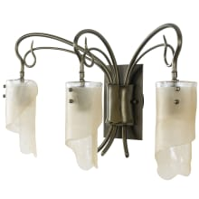 "Soho 23"" Recycled Steel, Handmade Glass Bathroom Light"