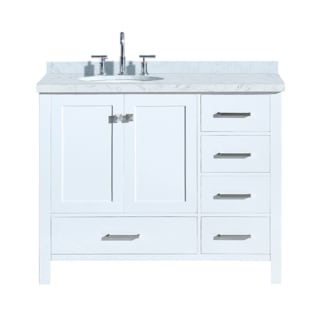 Ariel A043s L Vo Wht White Cambridge 43 Floor Mounted Single Basin Vanity Set With Wood Cabinet Marble Vanity Top And Left Offset Oval Bathroom Sink Faucetdirect Com