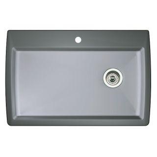Blanco 440193 metallic gray diamond single basin silgranit for Silgranit bathroom sinks