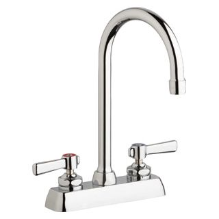 Chicago Faucets W4d Gn2ae35 369ab Chrome Commercial Grade Centerset Kitchen Faucet With Lever