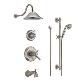 Delta DSS Cassidy 17T04SS Brilliance Stainless TempAssure 17T Series  Thermostatic Tub And Shower System With Volume Control, Shower Head, Hand  Shower, ...
