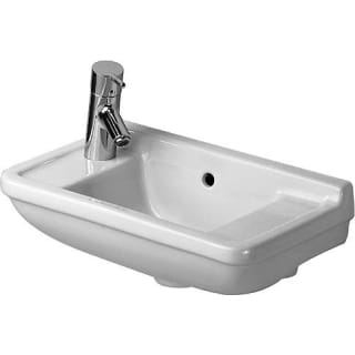 Duravit 0751500009 White Glazed Underside Starck 3 19 5 8 Rectangular Ceramic Wall Mounted Bathroom Sink With Overflow And 1 Faucet Hole On Left Faucetdirect Com
