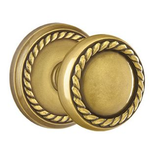 Emtek 810rkus7 French Antique Rope Knob Designer Brass